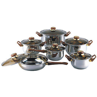 Gourmet Chef 12 Piece Covered Cookware Set Kitchen Stainless Steel Pots Pans New