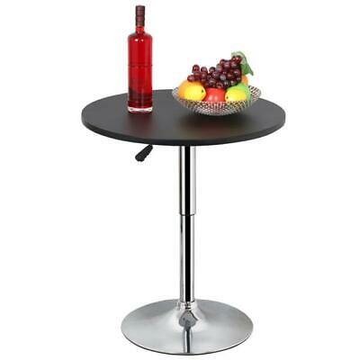 Black Round Bar Table Set of 2 Bistro Pub Counter Swivel Adjustable Height Cafe Adjustable Round Cafe Table