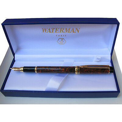 WATERMAN LE MAN 200 MARBLE BROWN FOUNTAIN PEN FINE PT  NEW IN BOX