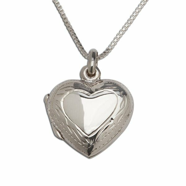 Sterling Silver Embellished Heart Locket Necklace -Valentine