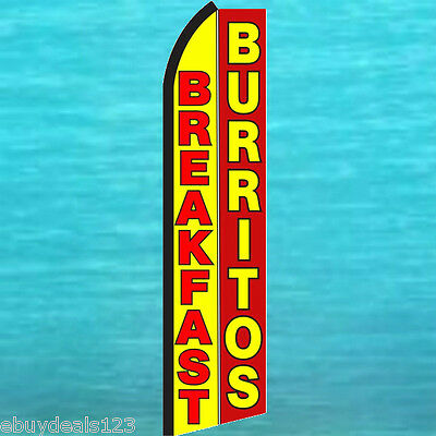 Breakfast Burritos Swooper Flag Tall Flutter Feather Advertising Sign Banner Yr