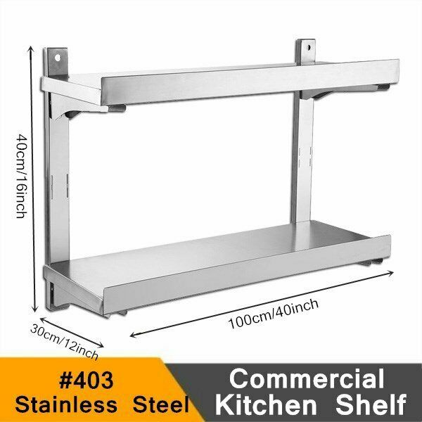 "Stainless Steel 16x40"" Solid Wall Shelf Commercial Kitchen Restaurant Heavy Duty"