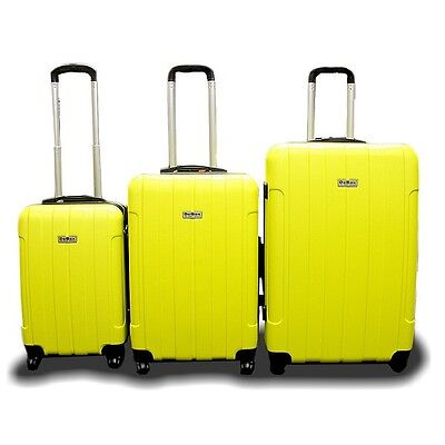 New Generic 3PCS Luggage Travel Bag 3 PCS ABS Trolley Suitcase w/ Lock Yellow