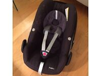 Maxi-Cosi pebble car seat with newborn pack and rain cover
