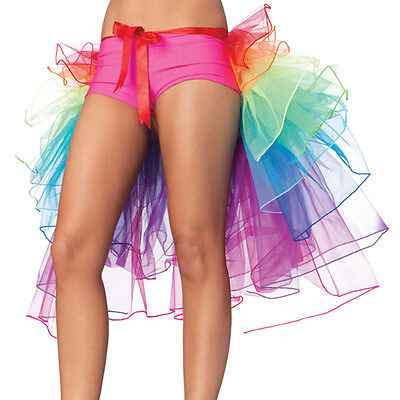 Women Ladies Rainbow Neon Tutu Skirt Rave Party Dance Half Bustle Burlesque New (Neon Tutus)