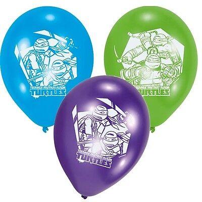 allons, 6 Stück, Blau, Grün, Lila, ca. 30cm, (Ninja Turtle Ballons)