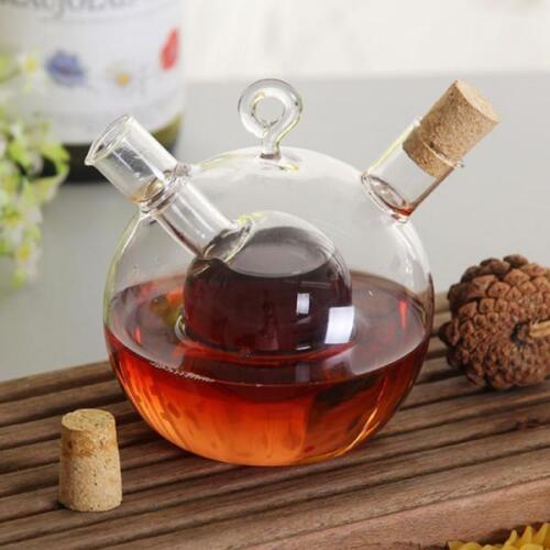 2-Outlet Glass Olive Oil Jar Vinegar Bottle Pot Sauce Dispen