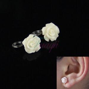 white flower rose clip on earring for kid adult 7mm fake piercing ear 10mm. Black Bedroom Furniture Sets. Home Design Ideas