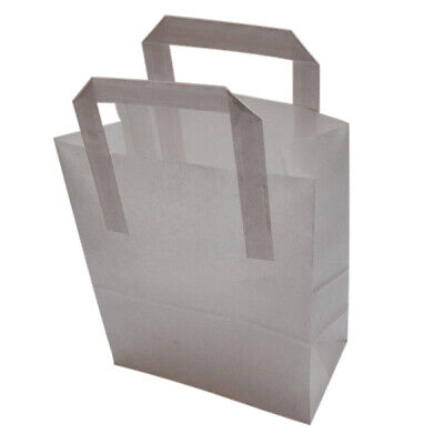 White Kraft SOS Carrier Bags Takeaway Food Cafe Trade Kitchen Catering Large Bag