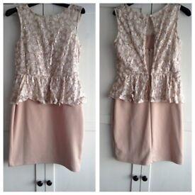 Miss Selfridge Size 12 Cream / Pink - Christmas Party Dress