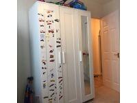 BRIMNES (Ikea) Wardrobe with 3 doors, white, 117x190 cm