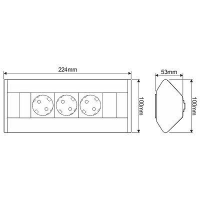 Möbel Steckdosen 3  fach Küchen Steckdose unterbausteckdose aufbausteckdose DL3