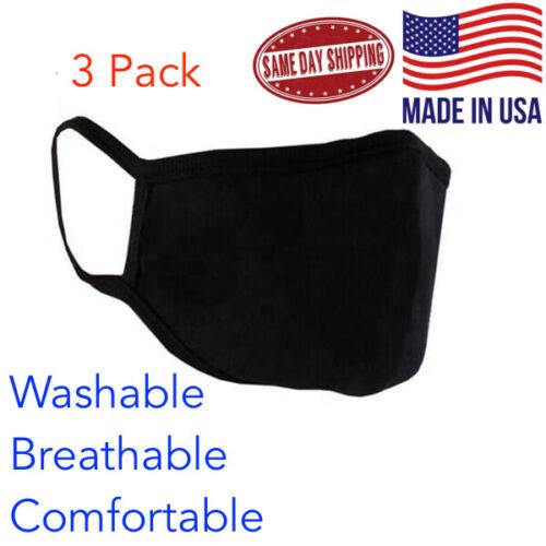 3 pack Face Mask Unisex Adult Cloth Washable Dual Layer PCS USA Black Reusable