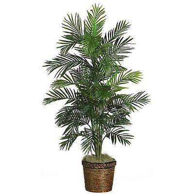 - Tropical Artificial Silk Palm Tree in Pot Basket Areca Plant Indoor Home Decor