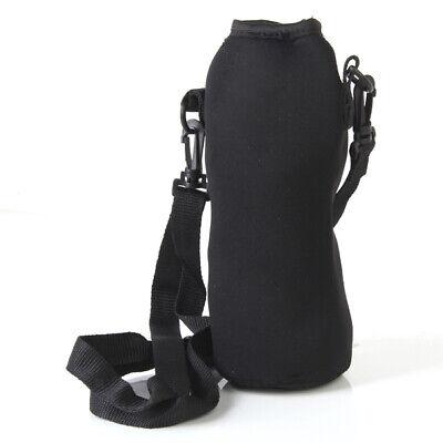 Outdoor Sports Zipper Isolierte Wasserflasche Trägertasche mit Gurt schwarz