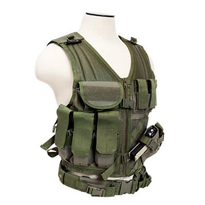 NcSTAR PVC Military Tactical Airsoft Heavy Duty Vest w/ Pistol Holster OD Green