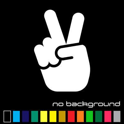 Peace Sign Hand Sticker Vinyl Decal - Love Symbol Car Window Bumper Hippie Wall