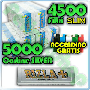 5000-Cartine-SILVER-CORTE-4500-Filtri-SLIM-6mm-RIZLA