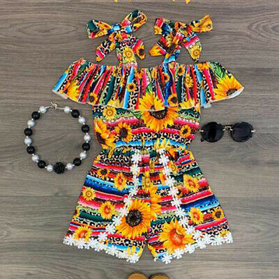 Fashion Toddler Baby Girls Summer Clothes Romper Jumpsuit Playsuit Outfits Set