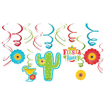 Mexican Fiesta Hanging Swirl Decorations Spanish Party Supplies Ceiling Danglers](Party Ceiling Decorations)
