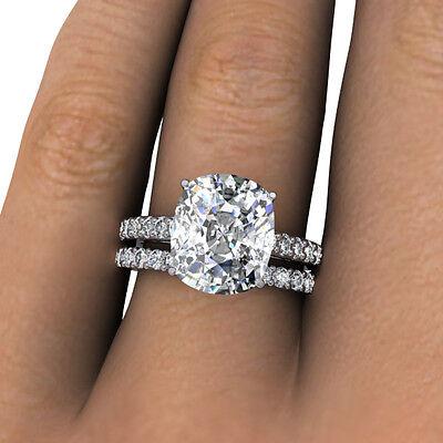 3.10 Ct. Cushion Cut Pave Natural Diamond Bridal Set - GIA Certified