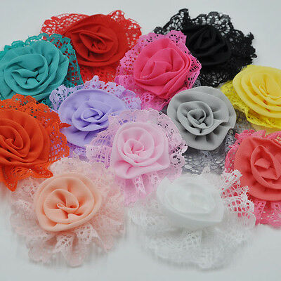 10/20/100PCS Large Trim Chiffon Ribbon Bows Flowers Appliques Wedding 85MM A261 - Large Ribbon Bows