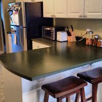 Countertops + stainless steel sink and faucet