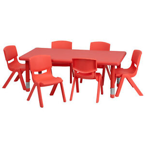 Kids Activity Table and Chairs Red Adjustable Stackable Daycare Preschool  PlayPreschool Furniture   eBay. Preschool Chairs Free Shipping. Home Design Ideas