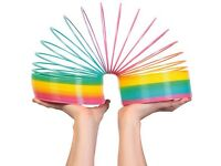 """7"""" GIANT JUMBO RAINBOW SLINKY COIL UNIQUE NOVELTY TOY STRETCHES OVER 20 FEET £10"""