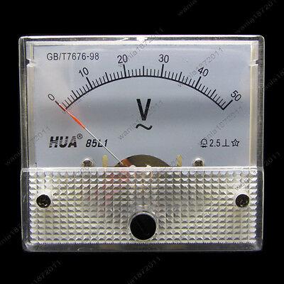 Ac 50v Analog Voltmeter Panel Pointer Volt Voltage Meter Gauge 85l1 0-50v Ac