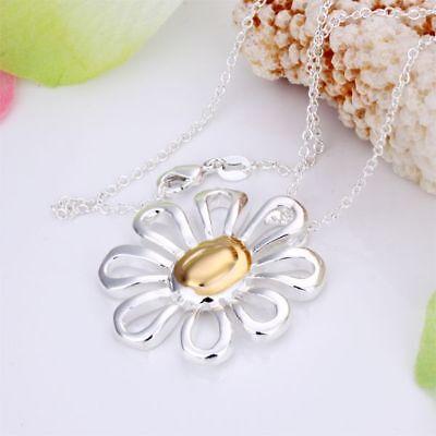 Damen Halskette mit Blumen Anhänger 925 Sterling Silber plattiert Kette Schmuck
