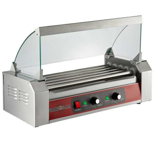 12 Hot Dog Roller Grill with 5 Rollers and Sneeze Guard - 110V, 750W Commercial