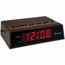 Westclox 22690 Retro Wood Grain LED Alarm Clock - .6