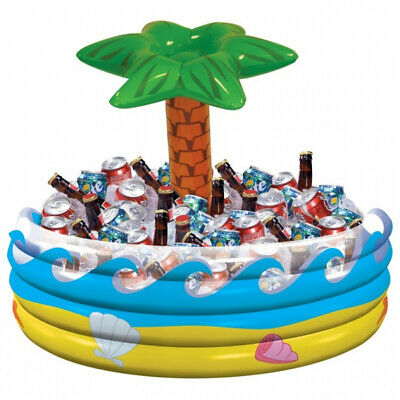 Inflatable Hawaii Beverage Cooler 28 5/16in Cooler Blow-Up Cooling Fan with Palm Fan Inflatable Cooler