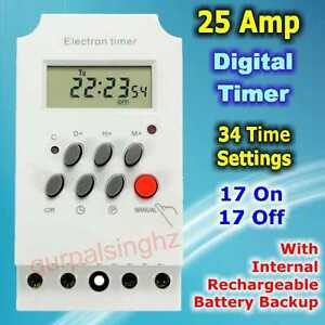 25a Daily Weekly Programmable Electronic Timer Switch 220v