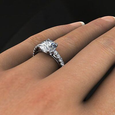 1.50 Ct. Natural Cushion Cut Pave Diamond Engagement Ring - GIA Certified 1