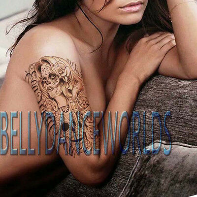 DAY OF THE DEAD SKULL HEAD WOMAN ROSE DESIGN TEMPORARY TATTOO BODY ART - Day Of The Dead Tattoo Designs