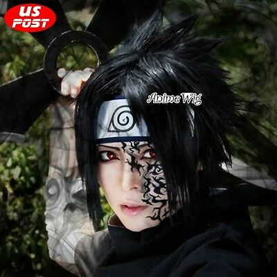 Anime Sasuke Uchiha Men Halloween Cosplay Short Black Layered Hair Wig