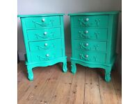 Upcycled spray-painted Louis bedside tables