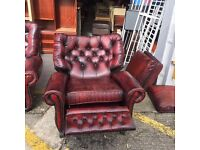 LEATHER BUTTON BACK 3 1 1 SUITE WITH RECLINER CHAIR