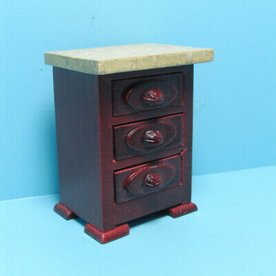 Dollhouse Miniature Wood Mahogany Nightstand  Side Table with Marble Top D0064