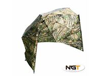 """Brand New NGT 50"""" Camo Fishing Oval Umbrella/Brolly/Shelter With Storm Sides + Pegs + Bag"""