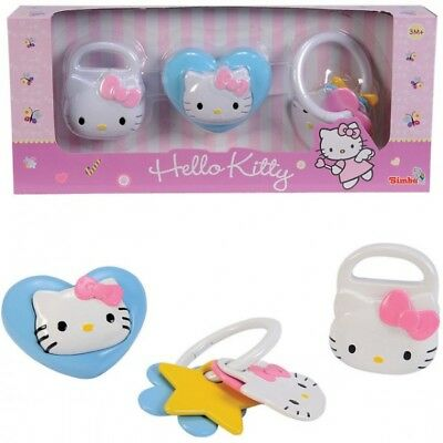 SIMBA Hello Kitty Rassel Set Quietscht ab 3 Monate Baby Spielzeug Babyrassel