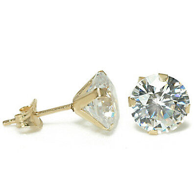 6CT WOMENS GORGEOUS 14K YELLOW GOLD WHITE SAPPHIRE ROUND CUT STUD EARRINGS