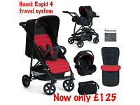 BRAND NEW IN BOX HAUCK RAPID 4 TRAVEL SYSTEM 2 IN 1 PRAM PUSHCHAIR RED CAR SEAT COSYTOES £125