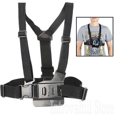 Supporto a fascia cinghia elastica regolabile corpo petto per GoPro Hero 4 3+ 3