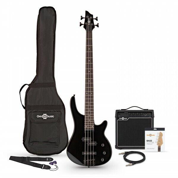 Harlem 4 Bass Guitar + 15W Amp Pack Black