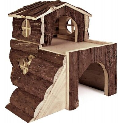 TRIXIE 2 Storey Bjork House with Ramp Natural Wood Hamster Guinea Pig Hide House 11
