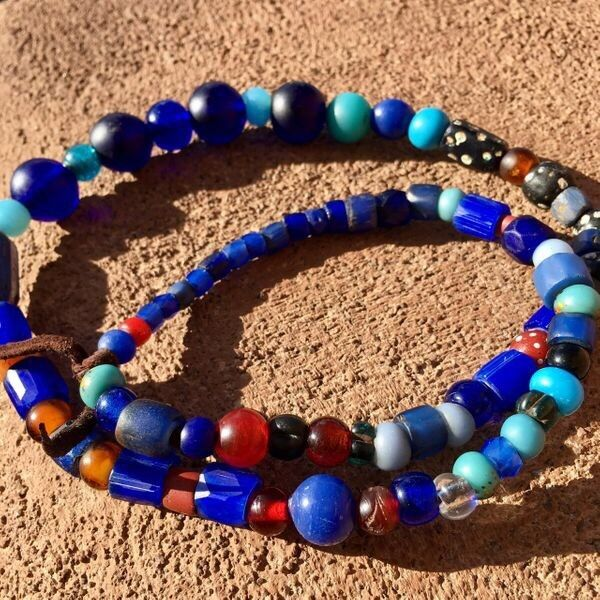 Russian Blues Native American Glass Padre Trade Bead Necklace Mandrel-Wound