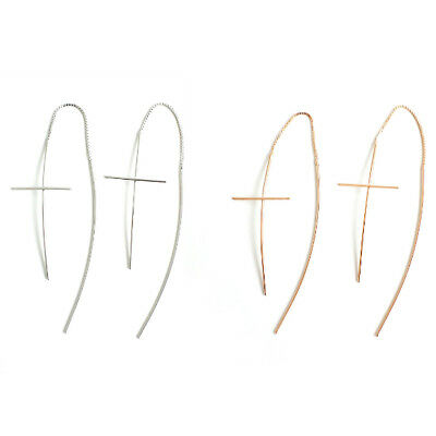 (925 Sterling Silver Cross Dangle Threader Long Earrings A1565)